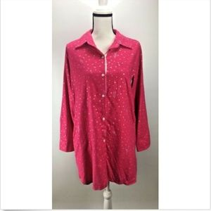 DKNY Women's Top S Small Sleepwear Pink Button